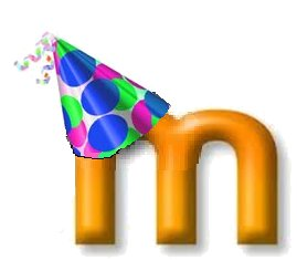 Moodle M with a party hat